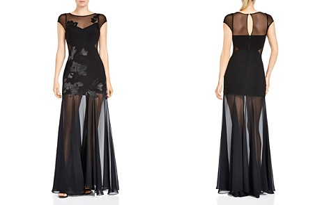 HALSTON HERITAGE Floral Embroidered Sheer-Detail Gown - Bloomingdale's_2