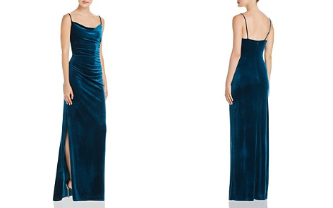 Laundry by Shelli Segal Ruched Velour Side Slit Dress - 100% Exclusive - Bloomingdale's_2