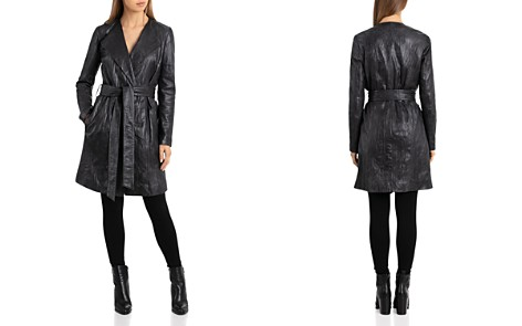 Bagatelle Textured Leather Wrap Coat - Bloomingdale's_2