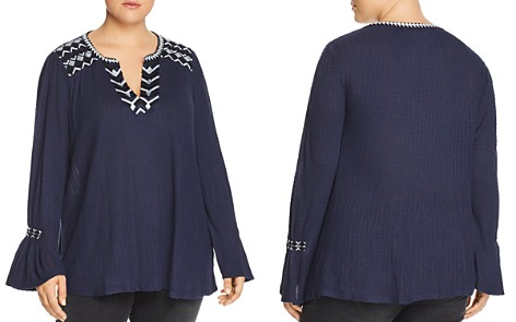 Lucky Brand Plus Embroidered & Textured Tunic - Bloomingdale's_2
