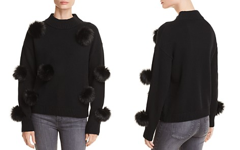 AQUA Faux Fur Pom-Pom Sweater - 100% Exclusive - Bloomingdale's_2