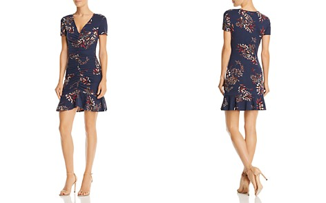 AQUA Ruched Botanical Print Dress - 100% Exclusive - Bloomingdale's_2