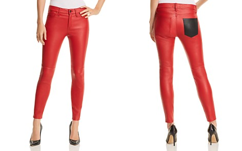 Current/Elliott The Stiletto Leather Skinny Jeans in Haute Red - Bloomingdale's_2