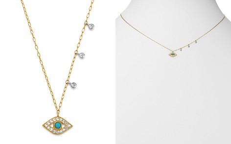 "Meira T 14K Yellow Gold & 14K White Gold Diamond & Turquoise Evil Eye Adjustable Pendant Necklace, 18"" - Bloomingdale's_2"