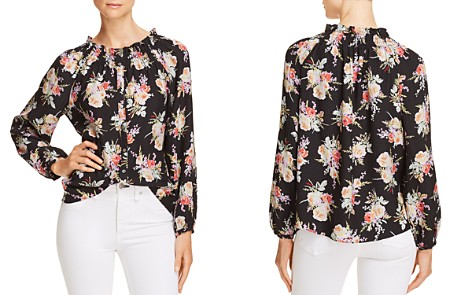 Rebecca Taylor Bouquet-Print Button-Front Silk Top - Bloomingdale's_2