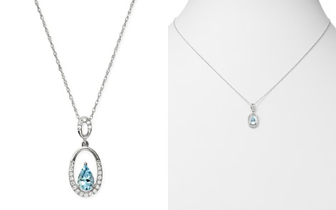 "Bloomingdale's Aquamarine & Diamond Oval Teardrop Pendant Necklace in 14K White Gold, 18"" - 100% Exclusive_2"