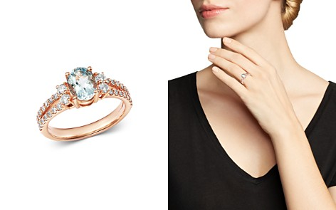 Bloomingdale's Aquamarine & Diamond Cocktail Ring in 14K Rose Gold - 100% Exclusive_2