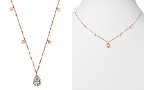 "Bloomingdale's Aquamarine & Diamond Teardrop Pendant Dangle Necklace in 14K Rose Gold, 18"" - 100% Exclusive_2"