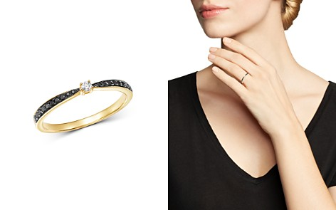 Bloomingdale's Black Diamond & White Diamond Delicate Ring in 14K Yellow Gold - 100% Exclusive _2