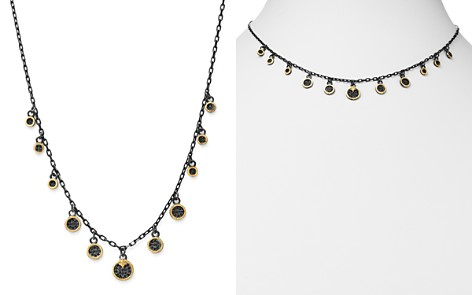 """Armenta 18K Yellow Gold & Blackened Sterling Silver Old World Pavé Champagne Diamond & Black Sapphire Multi Disc Adjustable Dangle Necklace, 17.5"""" - Bloomingdale's_2"""