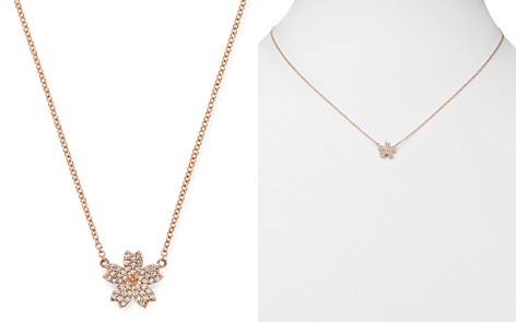 Bloomingdale's Diamond Flower Necklace in 14K Rose Gold, 0.10 ct. t.w. - 100% Exclusive_2