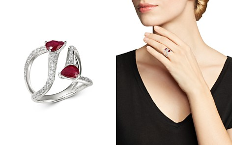 Bloomingdale's Ruby & Diamond Statement Ring in 14K White Gold - 100% Exclusive_2