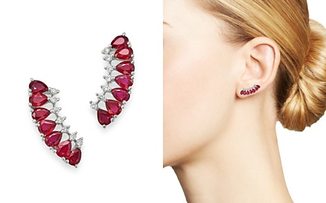 Bloomingdale's Ruby & Diamond Climber Earrings in 14K White Gold - 100% Exclusive_2