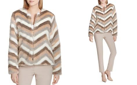 Calvin Klein Chevron Print Faux Fur Jacket - Bloomingdale's_2