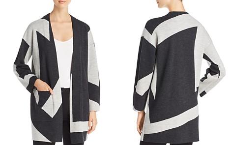 Eileen Fisher Petites Wool Color Block Cardigan - Bloomingdale's_2