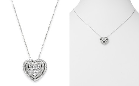 Bloomingdale's Diamond Halo Heart Pendant Necklace in 14K White Gold, 1.0 ct. t.w. - 100% Exclusive_2