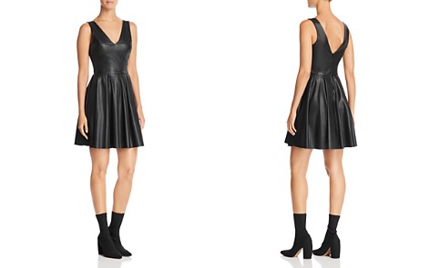 AQUA Faux Leather Pleated Dress - 100% Exclusive - Bloomingdale's_2