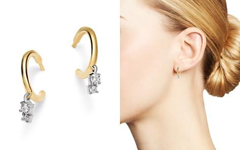 Adina Reyter 14K Yellow Gold & Sterling Silver Amigos Diamond Charm Huggie Hoop Earrings - Bloomingdale's_2