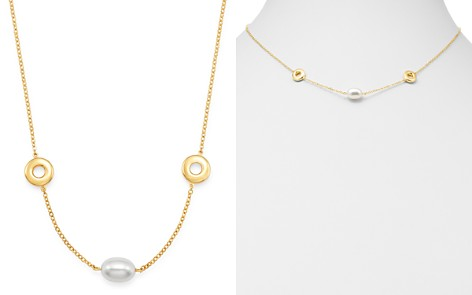 "Bloomingdale's Cultured Freshwater Pearl & Circle Necklace in 14K Yellow Gold, 18"" - 100% Exclusive_2"