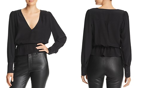 7 For All Mankind Silk Peplum Top - Bloomingdale's_2
