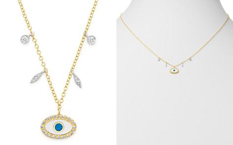 "Meira T 14K Yellow Gold & 14K White Gold Evil Eye Diamond & Enamel Pendant Necklace, 18"" - Bloomingdale's_2"