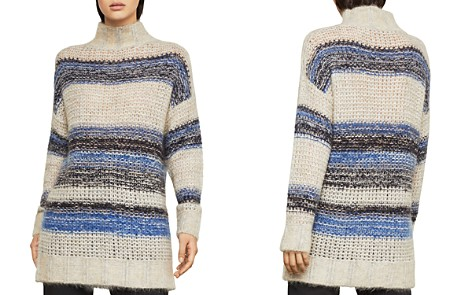 BCBGMAXAZRIA Striped Mock-Neck Tunic Sweater - Bloomingdale's_2
