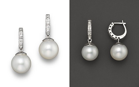 South Sea Cultured Pearl and Diamond Earrings, 10mm - Bloomingdale's_2