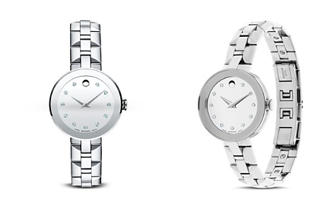 Movado Sapphire™ Stainless Steel Watch with Diamonds, 28mm - Bloomingdale's_2