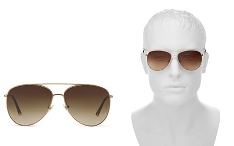 Burberry Honey Check Aviator Sunglasses, 57mm - Bloomingdale's_2