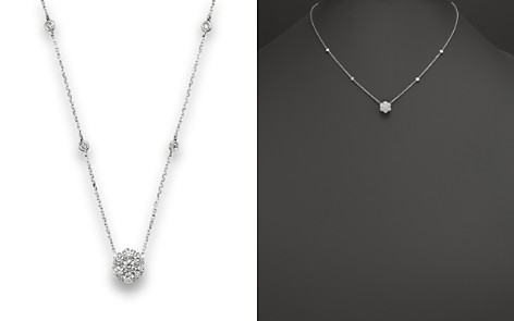 Diamond Flower Cluster Pendant Necklace in 14K White Gold, .80 ct. t.w. - 100% Exclusive - Bloomingdale's_2