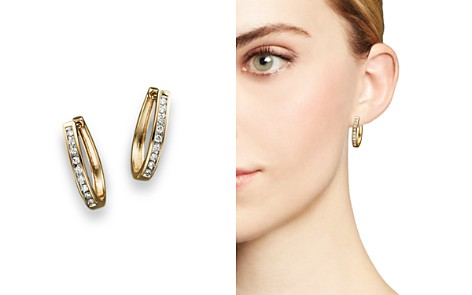 Diamond Channel Set Oval Hoop Earrings in 14K Yellow Gold, .20 ct. t.w. - Bloomingdale's_2