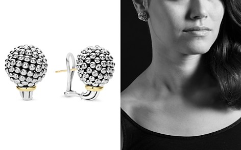 LAGOS Sterling Silver Large Caviar Bead Stud Earrings with 18K Gold - Bloomingdale's_2