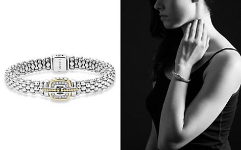 LAGOS Sterling Silver Beaded Bracelet with Diamonds and 18K Gold - Bloomingdale's_2
