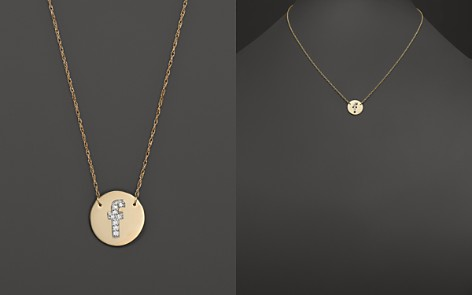 "Jane Basch 14K Yellow Gold Circle Disc Pendant Necklace with Diamond Initial, 16"" - Bloomingdale's_2"