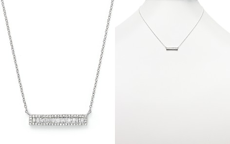 Diamond and Baguette Bar Necklace in 14K White Gold, .30 ct. t.w. - Bloomingdale's_2
