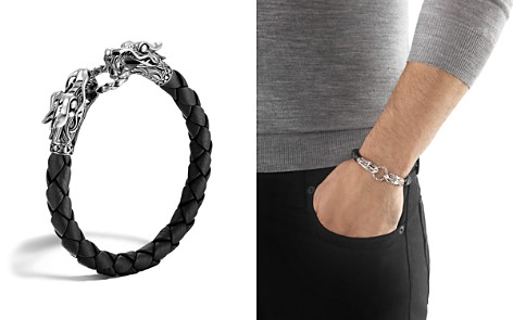 John Hardy Men's Naga Silver Black Woven Leather Dragon Bracelet - Bloomingdale's_2