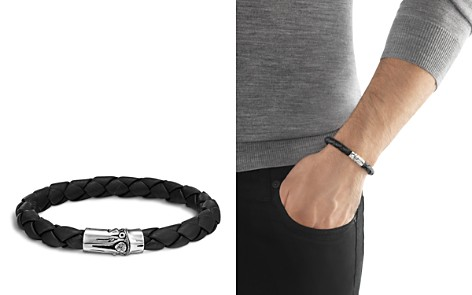 John Hardy Men's Bamboo Silver Black Woven Leather Bracelet - Bloomingdale's_2