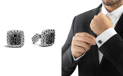 John Hardy Men's Classic Chain Square Cufflinks with Black Sapphires - Bloomingdale's_2