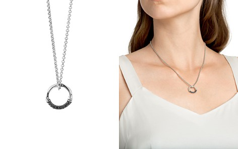 """John Hardy Sterling Silver Bamboo Lava Charm Necklace with Black Sapphire, 16"""" - Bloomingdale's_2"""