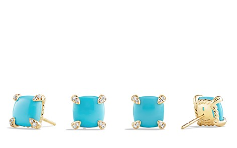 David Yurman Châtelaine Earrings with Turquoise and Diamonds in 18K Gold - Bloomingdale's_2
