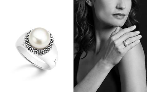 LAGOS Sterling Silver Luna Cultured Freshwater Pearl Caviar Bezel Ring - Bloomingdale's_2