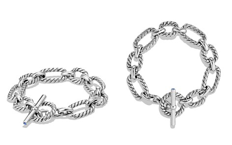 David Yurman Chain Cushion Link Bracelet with Blue Sapphire in Sterling Silver - Bloomingdale's_2