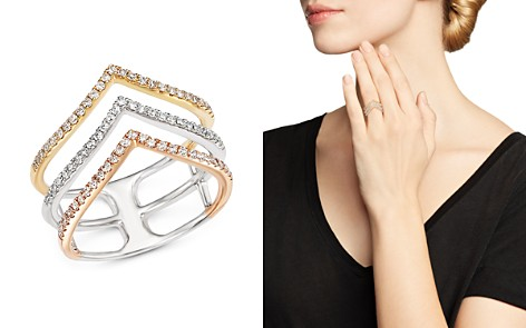 Diamond Triple Row Ring in 14K White, Yellow and Rose Gold, .40 ct. t.w. - Bloomingdale's_2