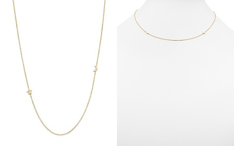 "Zoe Chicco 14K Yellow Gold Itty Bitty Crescent Moon and Star Necklace, 18"" - Bloomingdale's_2"