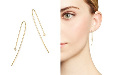 Zoë Chicco 14K Yellow Gold and Bezel Set Diamond Wire Earrings - Bloomingdale's_2