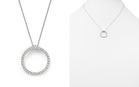 "Roberto Coin 18K White Gold Small Circle Pendant Necklace with Diamonds, 16"" - Bloomingdale's_2"