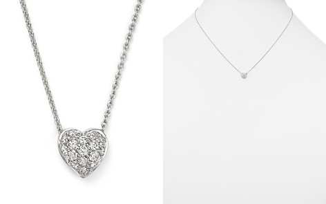 "Roberto Coin 18K White Gold Heart Pendant Necklace with Pavé Diamonds, 18"" - Bloomingdale's_2"