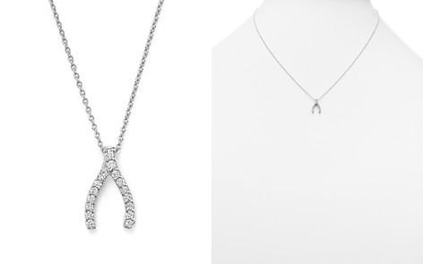 "Roberto Coin 18 White Gold Wishbone Pendant Necklace with Diamonds, 16"" - Bloomingdale's_2"