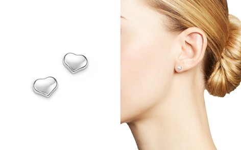 Roberto Coin 18K White Gold Small Heart Earrings - Bloomingdale's_2