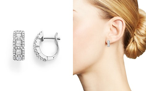 Round and Baguette Diamond Huggie Earrings in 14K White Gold, .75 ct. t.w. - 100% Exclusive - Bloomingdale's_2